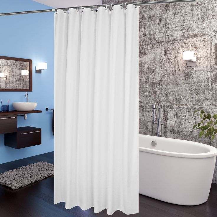 Hotel Shower Curtain Liner, Aoohome Mildew Resistant Fabric Shower Curtain with Weighted Hem, Mildew Resistant, Waterproof, 72 x 72 Inch, White