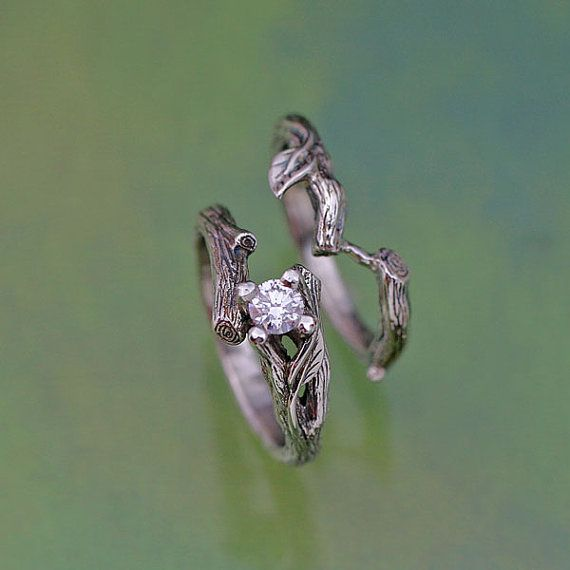 The ACADIA Wedding Ring Set  In 14k white gold with a natural diamond and by BandScapes,