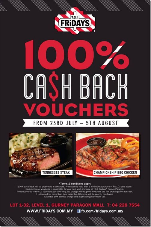 TGI Fridays 100ash Back Vouchers in Penang