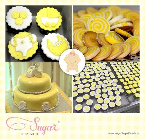 Sharing some images from a Baby Shower that Sugar recently catered. Check out the scrumptious​us​ chocolate cupcakes, lemon-vanilla cookies, and chocolate cake, all themed in cute baby yellow. To cater your special event, get in touch with us at sugarthepatisserie@gmail.com or call us on +91 22 2661 4708 #sugarthepatisserie #custom #cupcake #cake #dessert #babyshower #theme #yellow #white #mumbaieats #zomato