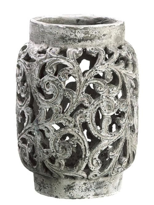"""13"""""""" Antique-Style Distressed Paisley Hurricane Candle Holder"""