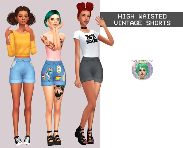 Sims 4 CC's - The Best: High Waisted Vintage Shorts by Twinksimstress