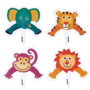 Plaats deze papieren decoraties in je Pops voor leuke junlge dieren Pops.