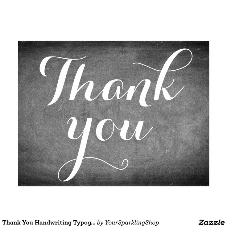 Thank You Handwriting Typography Black White Card