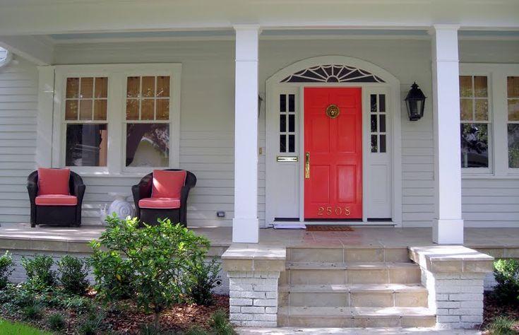 coral front door, back door and patio doors...omber steps...