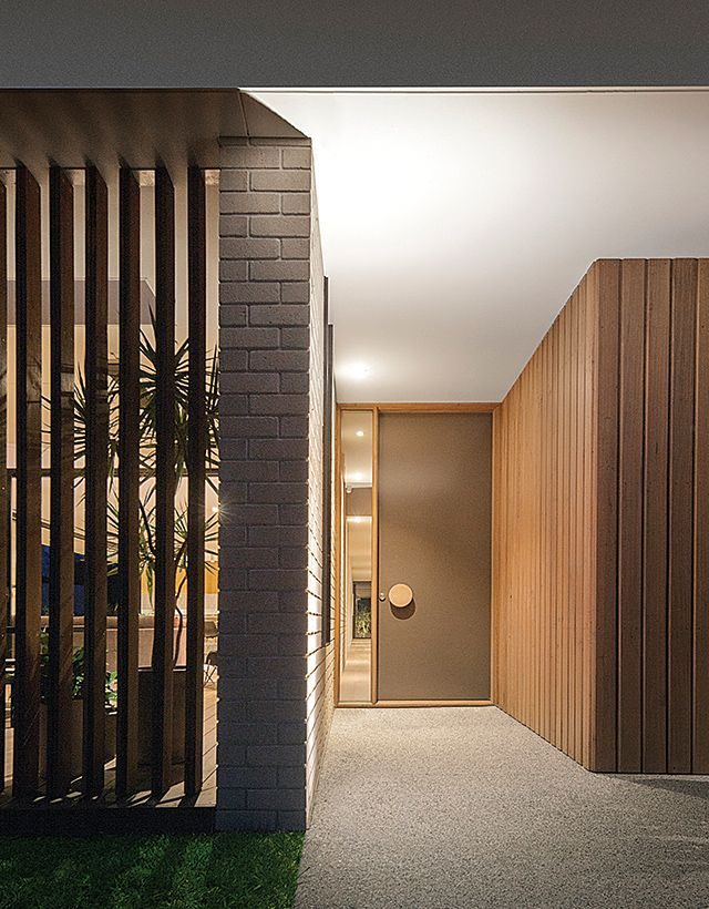 Timber and brick. Like the set back entry.
