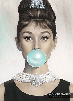 """Audrey Hepburn's Portrait """"Tiffany Blue"""" by Michael Moebius exclusively at Mouche Gallery."""