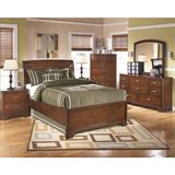 Ashley Alea Full/Twin Sleigh Bedroom Set - The warm inviting look of the Alea youth bedroom collection uses rich finishes and subtle curves to create a relaxing comfortable atmosphere perfect for the decor of any child's bedroom. Flowing beautifully over the rich cherry veneers, the medium brown finish covers the subtle curved contemporary design giving this furniture a slight rustic beauty that any child is sure to love. Perfectly complemented by the burnished metallic hardware, the relaxed…