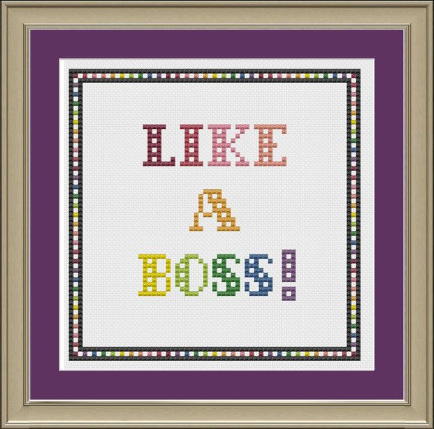 Like a boss: funny cross-stitch pattern. $3.00, via Etsy.