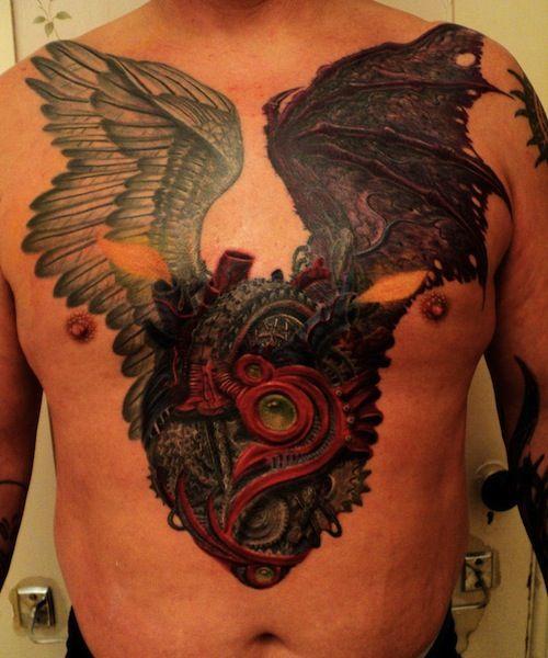 biomechanical heart tattoo - photo #7