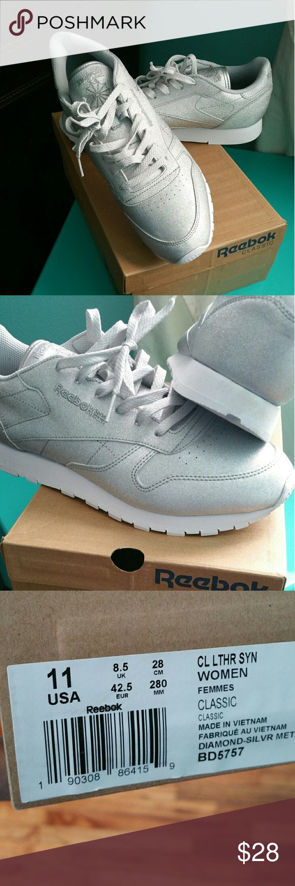 Reebok Metallic silver Reebok classic Reebok Shoes Athletic Shoes