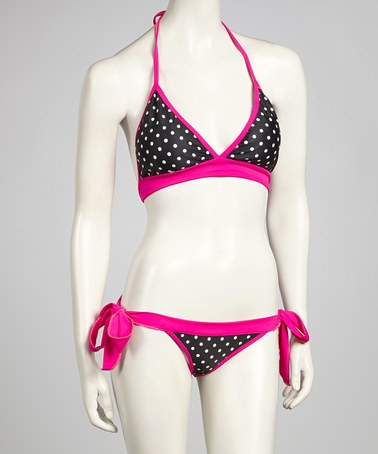 Take a look at this Pink & Black Polka Dot Triangle Bikini by Daisy Corsets on #zulily today!