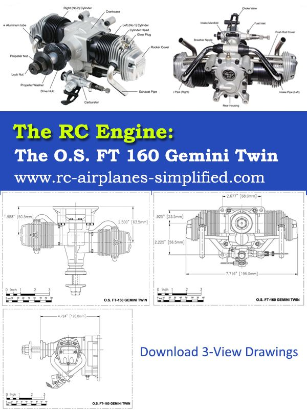 the rc engine - the o s  ft 160 gemini twin: full details of this beautiful  rc engine  how to mount it and run it and 3 view drawings are available