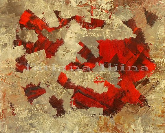 Unshaven Rooms by Tatiana iliina, Abstract painting canvas print of original fine art home decor