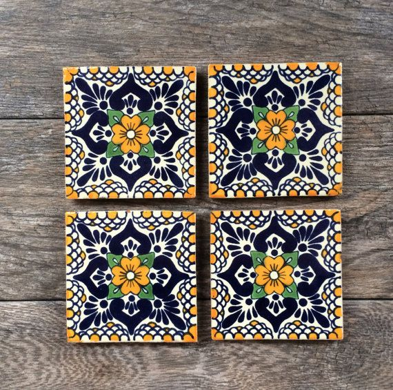 Blue And Orange Fl Mexican Tile Coasters