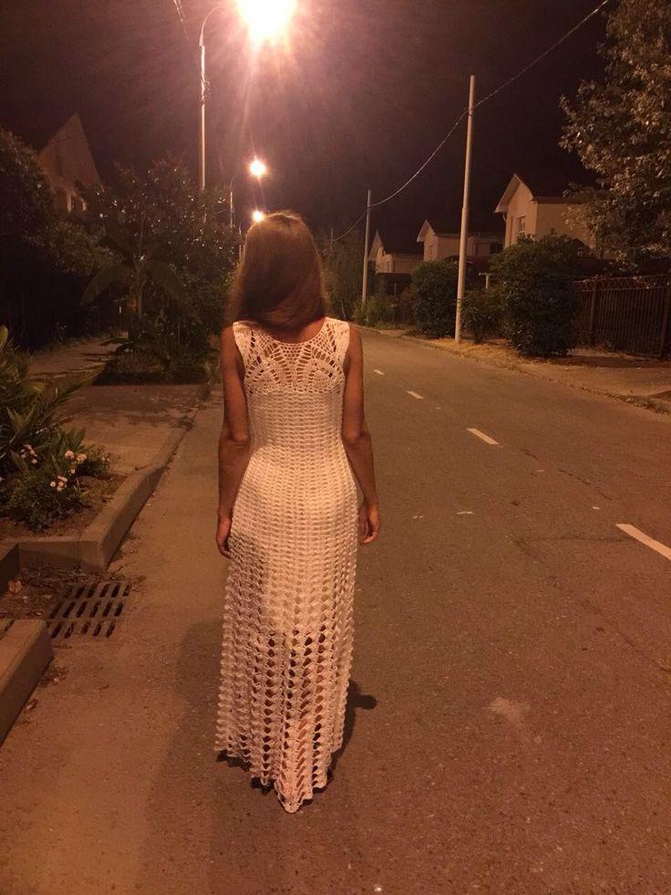 Платье крючком. Белое платье. Шикарное платье. Платье в пол. Летнее платье