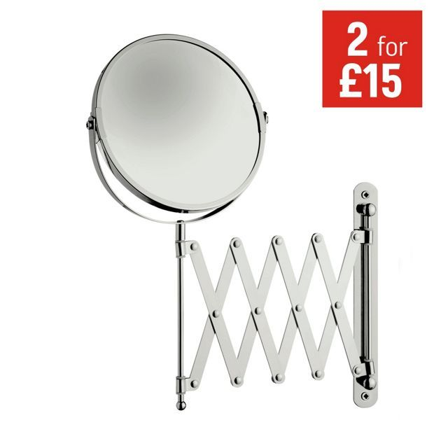 living extendable shaving mirror chrom at homebase be inspired and make your house a home buy now