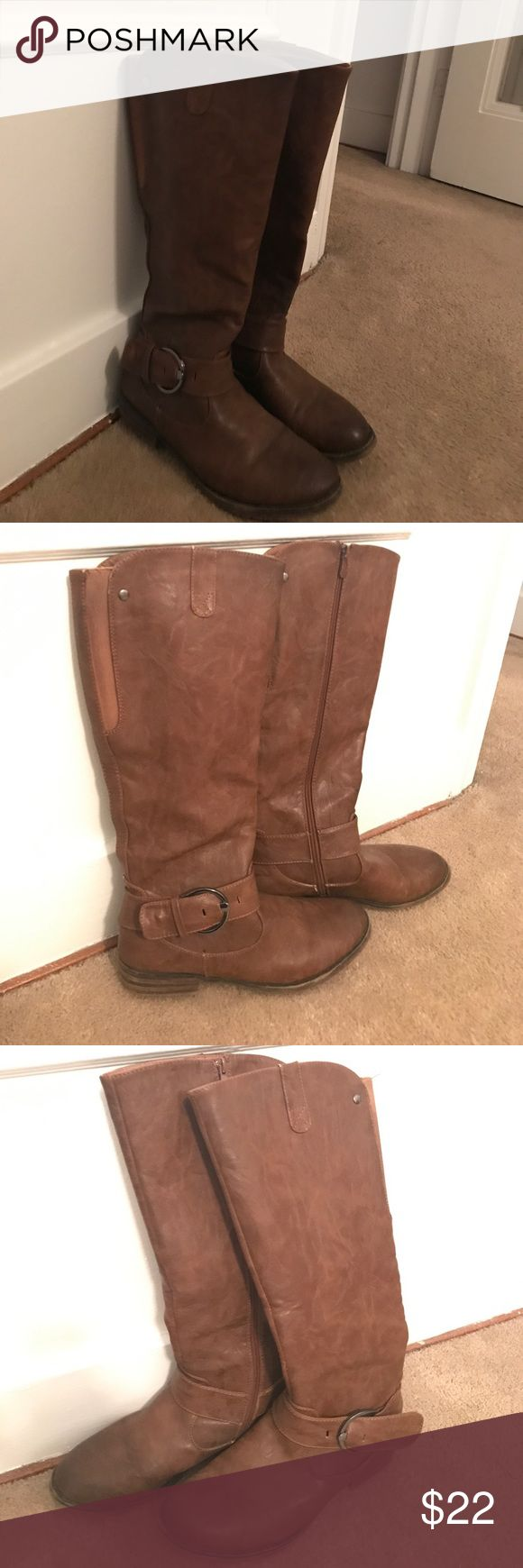 Tall brown boots These have some give in the back so they are perfect for both wide and skinny calf! These have been worn only a few times! There is a leather strap that is missing in the 3rd picture, otherwise near perfect condition!! No reasonable offer will be refused! Patrizia Pepe Shoes Winter & Rain Boots