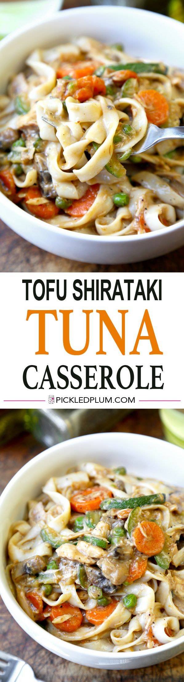 The healthiest tuna noodle casserole made with tofu shirataki noodles, low fat cream of mushroom soup and plenty of vegetables! Healthy recipe that's also low in calories - http://www.pickledplum.com/tofu-shirataki-tuna-noodle-casserole/