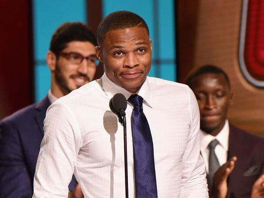 Russell Westbrook speaks on stage during the 2017 NBA