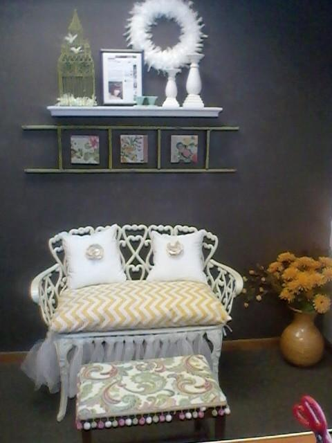 Sitting area for a Shabby CHic Home Office <3 love the chevron bench seat