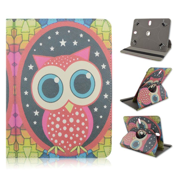 "Lovely Cute Sweet Owl Pattern 10"" Universal Case PU Leather 360 Degree Swivel Stand Rotating Cover 8 Styles"