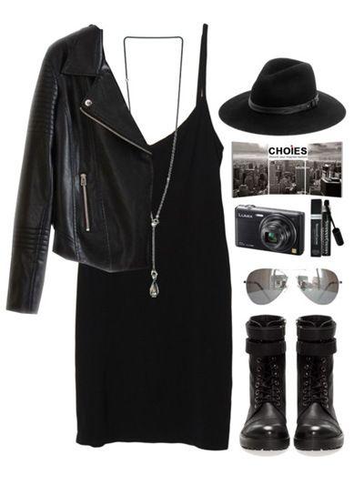 Лук в стиле хиппи: черное платье и кожаная куртка-косуха