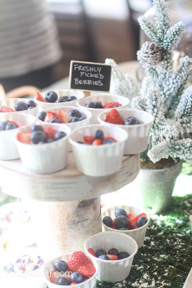 Freshly picked berries at a woodland birthday party! See more party planning ideas at CatchMyParty.com!