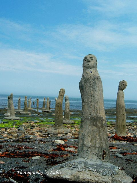Le Grand Rassemblement/The Grand Gathering by sculpture artist Marcel Gagnon. These sculptures are part of the large art exhibit found in Sainte Flavie on the Gaspe Peninsula, Quebec.