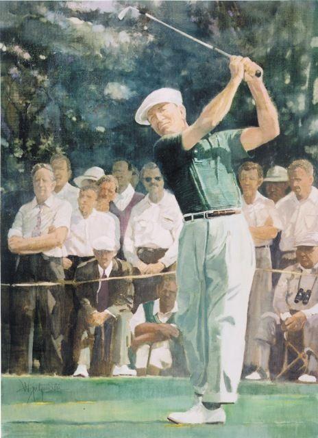 Walt Spitzmiller - Ben Hogan at Augusta 32 x 41 Oil on Belgian Linen
