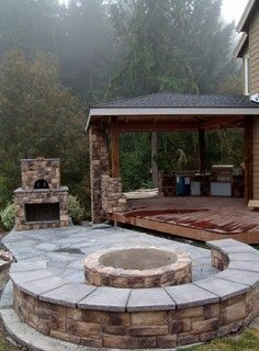 Outdoor Fireplace with Pizza Oven and Fire Pit - traditional - deck - portland - by Brown Bros. Masonry