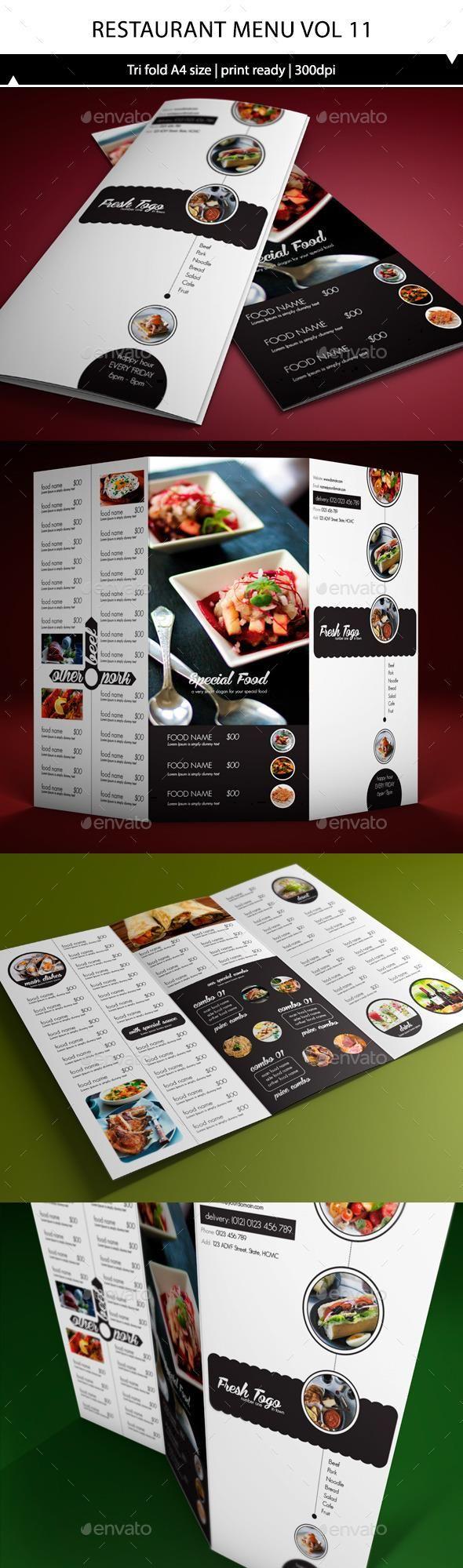 Restaurant Menu A4 Trifold Vol11