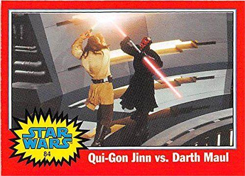Darth Maul Battles Qui Gon Jinn trading card Star Wars 2004 Topps Heritage #84 //Price: $3 & FREE Shipping //     #starwarslife