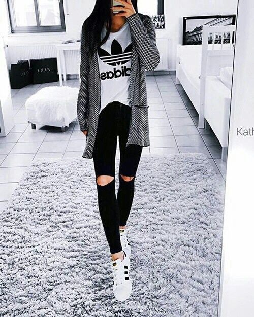 Adidas Superstar White And Black Outfit