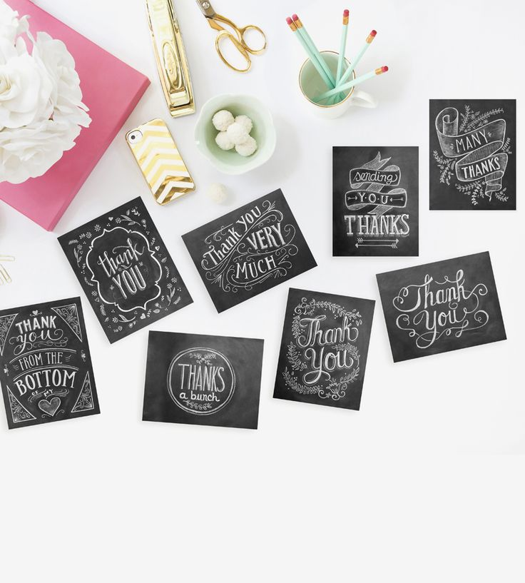 free online printable wedding thank you cards%0A HandLettered Chalkboard Art Thank You Cards  Set of