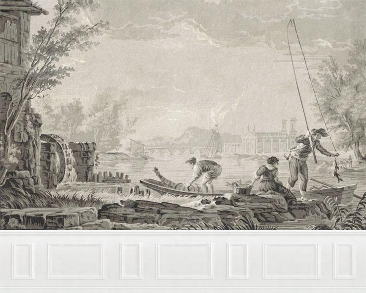 Papier peint panoramique port au 18 me si cle d 39 apr s for Lacroix jardins 78