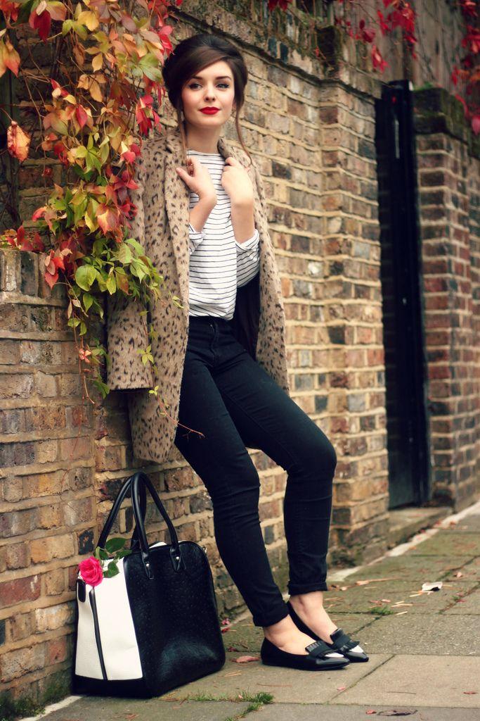 black jeans // breton stripes // black jeans // red lip // fur coat