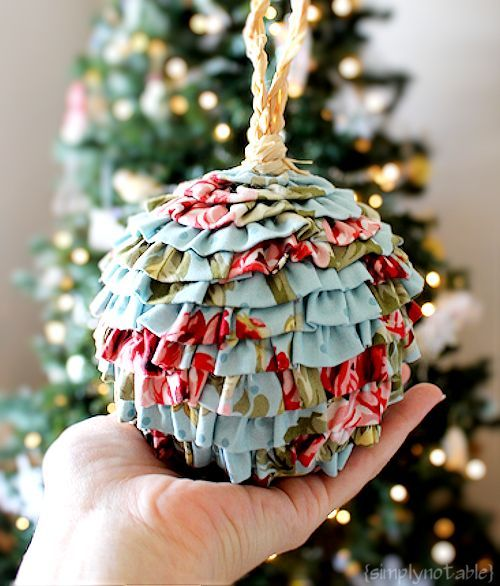 DIY Ruffled Fabric Christmas Ornaments That's It. My