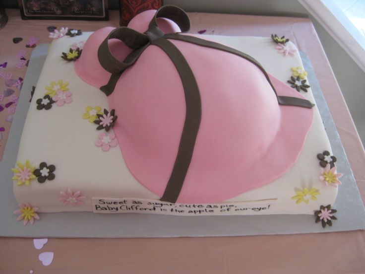 Pregnant Belly Baby Shower Cake (For Girl)  on Cake Central