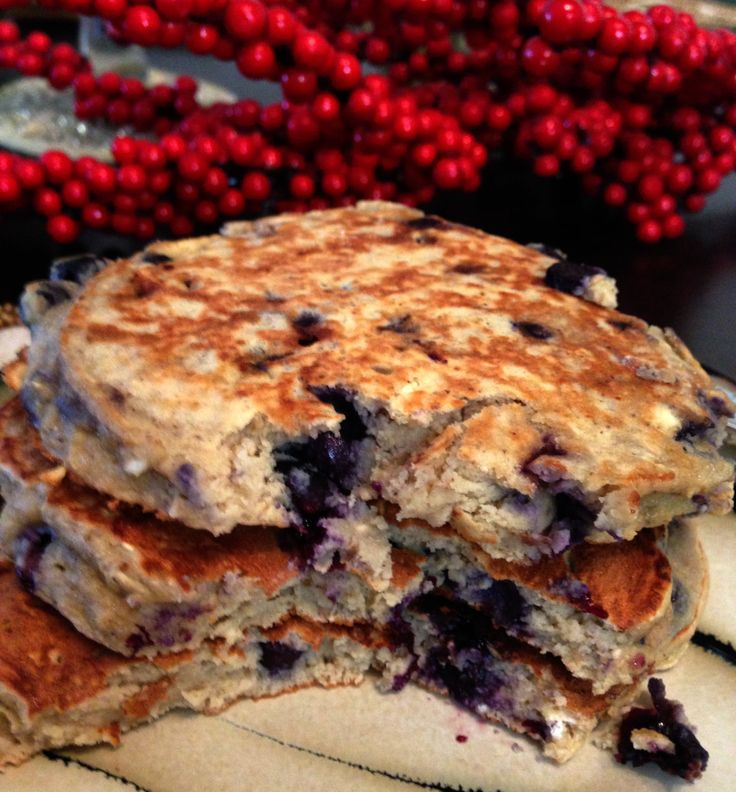 Blueberry Coconut Protein Pancakes