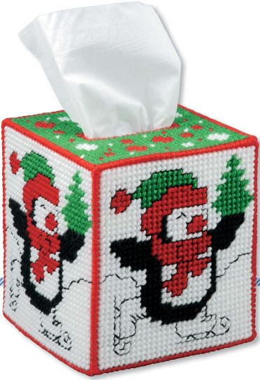 Christmas Tissue Box Cover! Plastic Canvas pattern. Such a cute penguin!