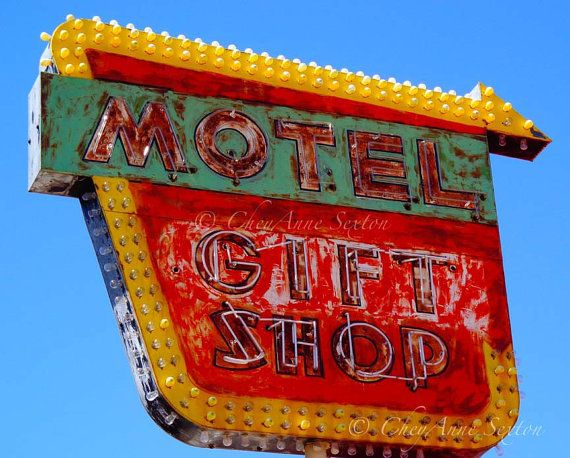 Old Neon Signs Motel Gift Shop Retro signage by NewMexicoMtnGirl