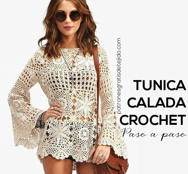 Crochet knitted tunic with step-by-step explanation