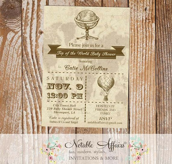 Baby Shower Old World Map Globe Rustic Hot Air Balloon  Vintage Baby Shower Invitation - Top of the world by NotableAffairs