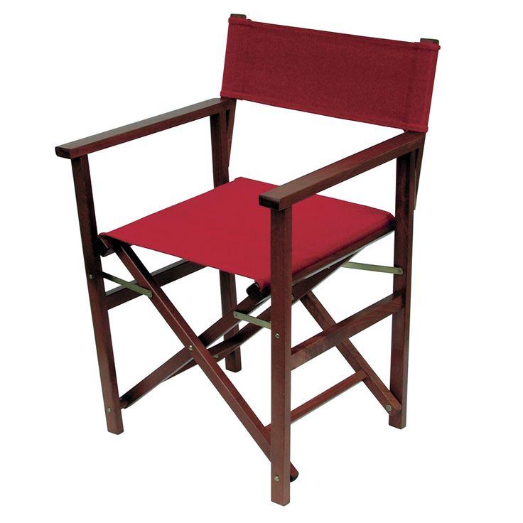 Regista D 11. Sedia pieghevole con struttura in legno di faggio e seduta e schienale in tessuto portante di cotone.