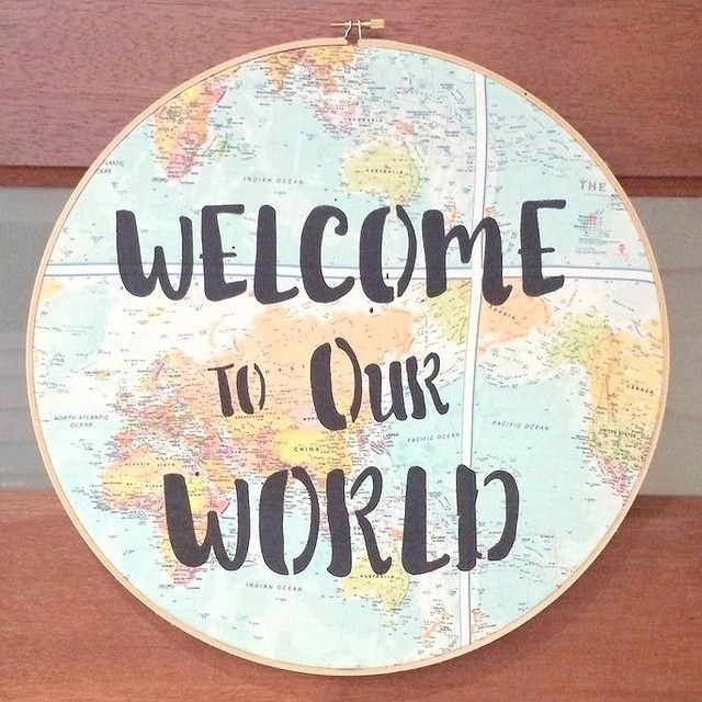 How warm and welcoming is a map. Add a dash of embroidery and you are home. Search 'welcome embroidery ring' on dtll.com.au or click on the shopable link in our profile. #dtll #downthatlittlelane