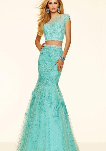Cheap and Australia 2016 Mint Mermaid Scoop Neckline Beaded Lace Organza Floor Length Evening Dress/ Prom Dresses 98094 from Dresses4Australia.com.au