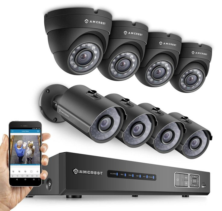 1080P 8CH 2TB DVR Security Camera System w/ 4 Bullets and 4 Domes (Black)