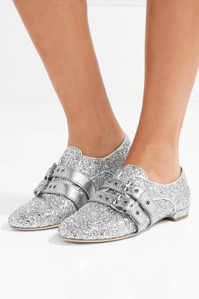 Heel measures approximately 15mm/ 0.5 inches Silver glittered leather Slip on Made in Italy