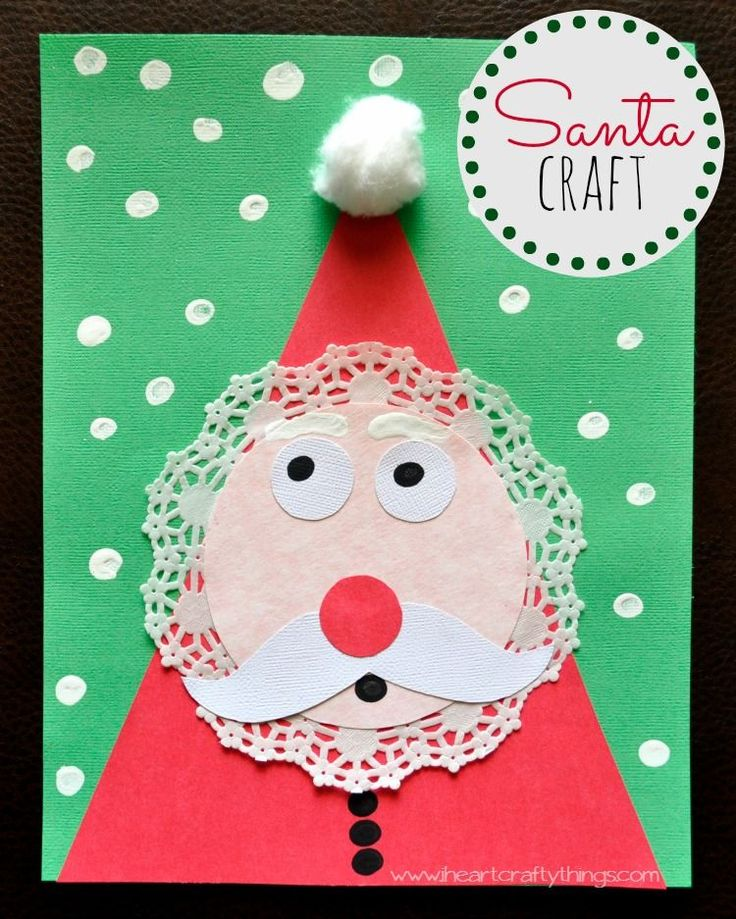 Kids Santa Craft made out of a doiley and different shapes. Simple and fun Christmas Craft. Patterns included in the blog post. | from I Heart Crafty Things
